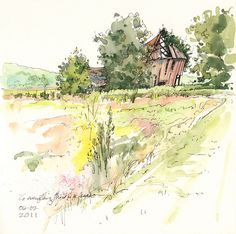 Watercolor study by Cathy Johnson.  A set of 10 different paintings by season.
