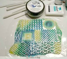 Tutorial using Darwi glass paints on textured polymer from Pinklily  #polymer