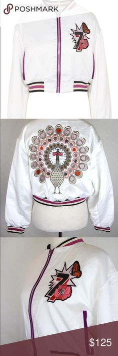 MAJE Peacock Embroidered Bomber Jacket In White Peacock Embroidered Bomber Jacket In White  Maje satin jacket Concealed zip fastening at front Stand collar, long sleeves,  floral embroidery at front, contrasting panel at front, two zipped pockets at front, contrast piping, peacock embroidery at back, striped ribbed trims, fully lined  98% polyester, 2% elastane; lining 100% polyester Dry clean Size:6 or 36 Maje Jackets & Coats