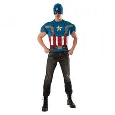 The Captain America Adult Retro Muscle Chest Shirt Set is a two-piece adult Halloween costume that comes with a costume top and fabric mask.