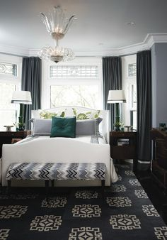 Master bedroom in designer Tommy Smythe's Toronto town home.