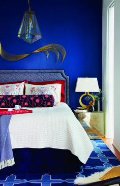 brass and royal blue with white and red accents - very bold and very beautiful...