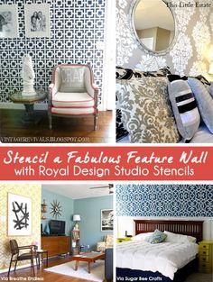 stencil idea, stencil patterns, design studios, accent wall