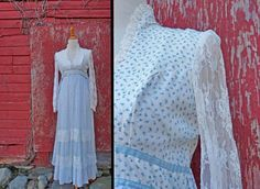CORSET Maxi Dress / 1970s Lace Sleeves / by JeezumCrowVintage, $60.00