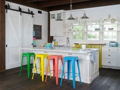 We love these colorful kitchen stools!