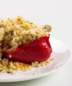 Couscous Stuffed Bell Pepper Recipe For IBS Sufferers #IBS #IBSRecipes #IrritableBowelSyndrome #IrritableBowelSyndromeRecipe