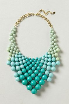collier boules dégradé bleu vert