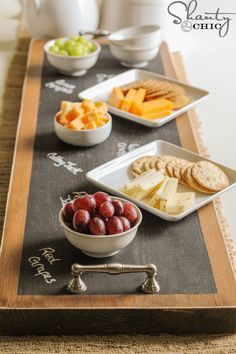 Chalkboard serving tray!  Love this!