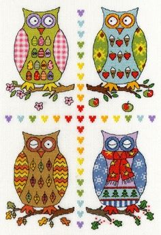 Four Owls Cross Stitch Kit from Bothy Threads from £25.75 - Past Impressions