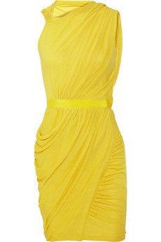 Giambattista Valli yellow draped dress in cotton blend