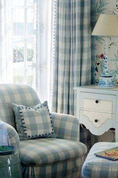 chair, cottag, guest bedrooms, blue, modern interior design, modern interiors, buffalo check bedroom, beach interiors