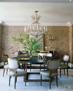 Formal Dining room with handpainted Chinoserie wallpaper