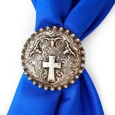 Silver King USA Cross & Longhorn Scarfslide at The Maverick Western Wear