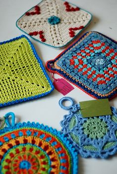 Potholders - love the round one at the bottom