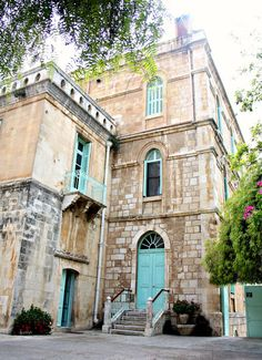 I found this beautiful blue building in the heart of Jerusalem, Israel. What a great place it was to 'breath'... - Pauline Kolochuk - http://thepursuitofstampiness.blogspot.ca