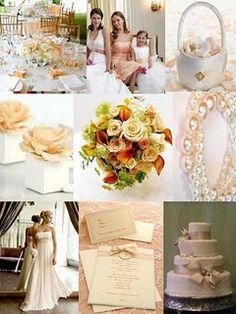 wedding board peach champagne ivory
