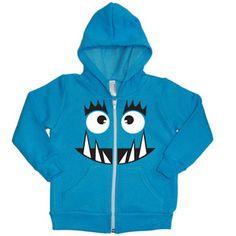 Monster Face Hoodie Neon Blue $40 | Personalized Kids Hoodie