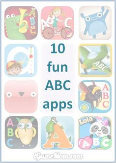 10 fun alphabet apps helping kids learning ABC - each is unique in certain ways, no mather what's your child's interest or learning style, you can find one he/she will like #kidsapps