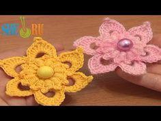 ▶ Crochet Flower Puff Stitch Center Tutorial 72 Crochet Flower Library Free Patterns - YouTube
