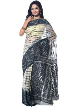 Off White and #Black Supernet #Pre-Stitched Saree @ $145.00