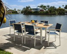 Polywood's chic new outdoor dining furniture collection. Comes in several beautiful colors. Would make the perfect furniture for your patio, porch, our classy outdoor space.