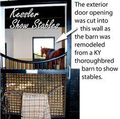 Low swoop in horse stall door. Exterior doors in the back of the stable. Stall doors by Lucas Equine.