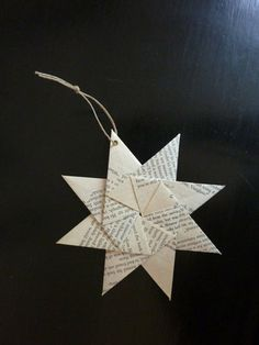 Book Pages : Old book pages are brought to life in this star-shaped ornament. To get the look, just make sure to practice your origami skills. Source: Etsy User merrypapercrafting
