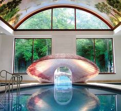 Amazing indoor pool with custom-built clam shell and decorated ceiling! The rest of this impressive pool continues outdoors. Photo courtesy of Platinum Poolcare, Ltd., Wheeling, Illinois. See more photos from Platinum Poolcare http://www.luxurypools.com/builders-designers/platinum-poolcare-ltd.aspx