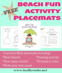 {free} Beach Activity Placemats - In All You Do