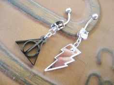 Geeky belly button ring. Last One Choose Your Charm Belly Button Ring by Azeetadesigns