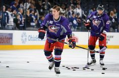 Brandon Dubinsky  of the Columbus Blue Jackets warms up prior to a game against the Toronto Maple Leafs in a purple jersey to support #HockeyFightsCancer.