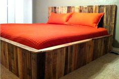 Bed made from upcycled palettes!
