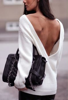 Plunging back sweaters.