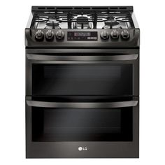 LG Electronics 6.9 cu. ft. Smart Double Oven Slide In Gas Range with ProBake Convection and Wi-Fi in Black Stainless Steel-LTG4715BD - The Home Depot