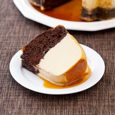Our Chocolate Flan Cake performs magic in the oven and reverses layers of sweet, creamy flan and rich, spongy cake while it bakes.