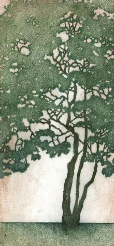 tree woodblock print by Andrea Starkey, starkeyart
