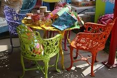 Love the bright colored chairs, repurposed and painted tmullan26