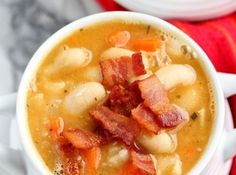 Creamy White Bean and Bacon Soup Recipe by @Jò in Wonderland Colleen Tilton