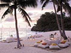 Dining on a sandy beach...