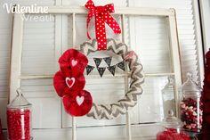 Valentine Wreath and mantel. So pretty!