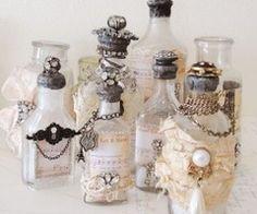Vintage shabby chic bottles