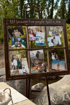 LOVE LOVE LOVE this idea, take an old window frame like this and put pictures in it to display. SUPER cute and cheap
