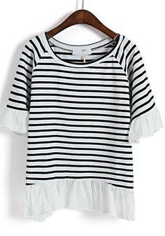 Black Striped Patchwork Chiffon Falbala Cotton Blend T-shirt