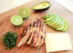 Avocado Lime Chicken - a light and tasty lunchtime treat!  Add brown rice, Fahita veggies, sour cream, cilantro and wrap in a flour tortilla and twa~la, you have a great Buritto.  Yummie ~