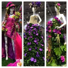 Flower dress displays at Canada Blooms.