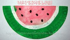 Crafts~N~Things for Children: Fun Watermelon Craft and a Cookie!  Perfect for summer! watermelon craft, idea, artsi momma, activ, fun watermelon, watermelons, kid craft, paper plates, crafts