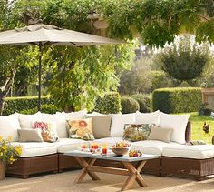 Palmetto All-Weather Wicker Sectional Set - Honey