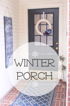 Winter Porch {reds and blues} -