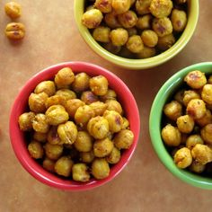 Curried chick peas or garbanzo beans are roasted until crispy in a sweet curry and honey mustard glaze. It's a guilt-free snack and delicious salad topper.