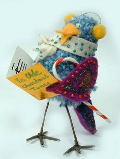 Christmas - Christmas Ornament - Handmade Ornaments made from pom poms - Xmas_ChoirBird